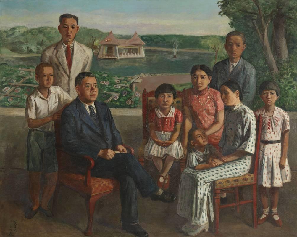 李石樵,〈楊肇嘉氏之家族〉,1936,油彩、畫布,179 × 226公分。私人收藏。