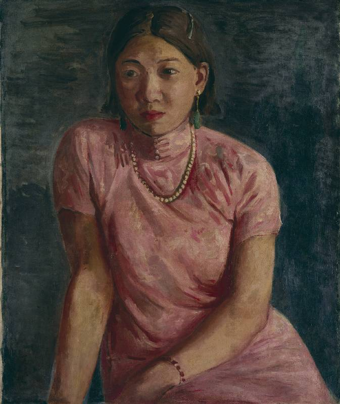 李石樵,〈珍珠首飾〉,1936,油彩、畫布,72.5 × 60 公分,國立臺灣美術館典藏。