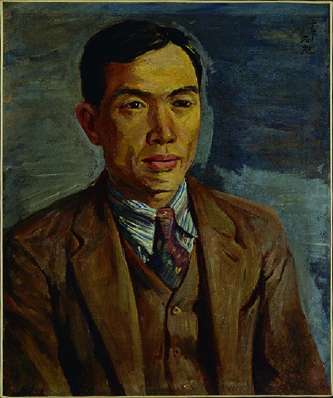 李石樵,〈張星建肖像〉,1935,油彩、畫布,59.5 × 48.5公分。臺北市立美術館典藏。