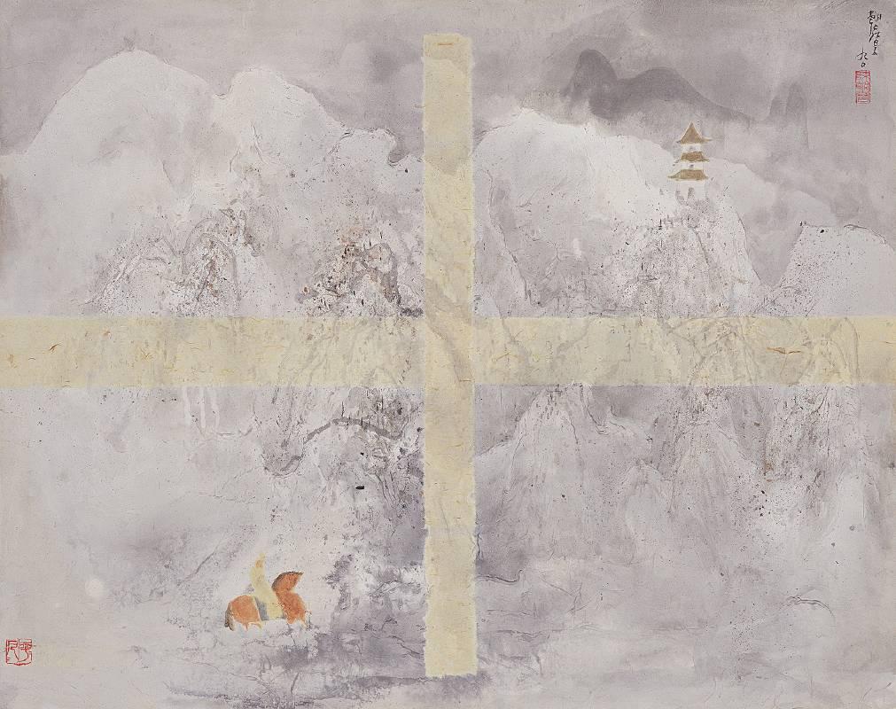 臺北市立美術館典藏 孤旅,混合媒材 畫布,1990,72x90.5 cm