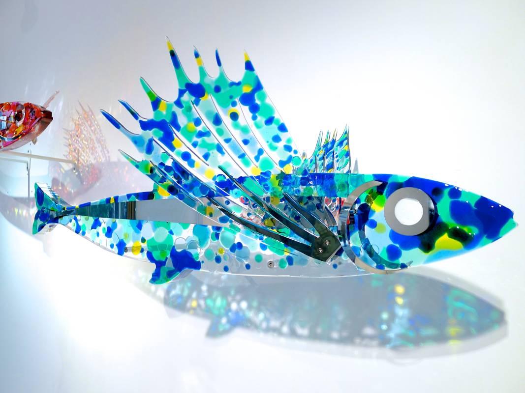 賴純純_島嶼海洋系列 刺藍平尾飛魚_複合媒材_66x110X22 cm_2015