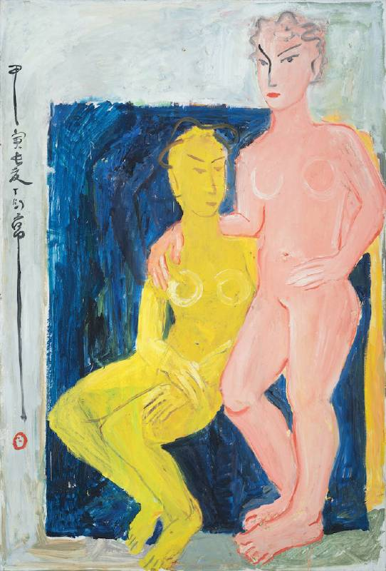〈浴罷〉Two Nude 1974  油彩、木板Oli on Board  181.5*120.5cm