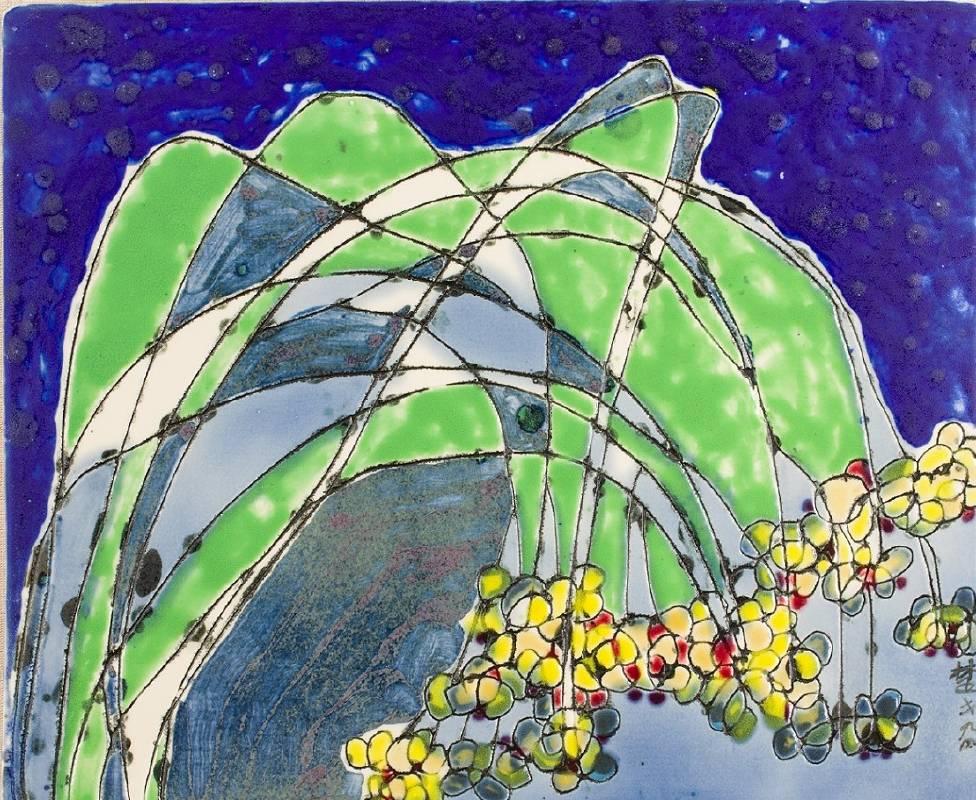 楚戈 花卉瓷盤之二 33.5x40cm 1994 彩繪瓷盤