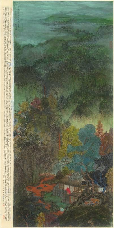 楊思勝,仿王蒙滌硯圖,2012,183.5x92cm,設色紙本