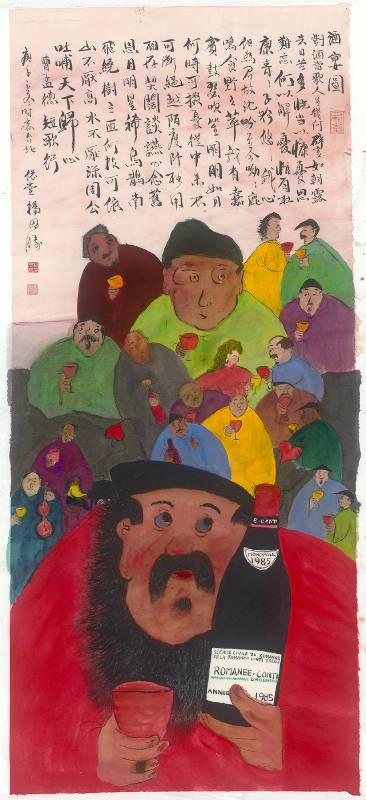 楊思勝,酒宴圖,2020,140x61cm,設色紙本