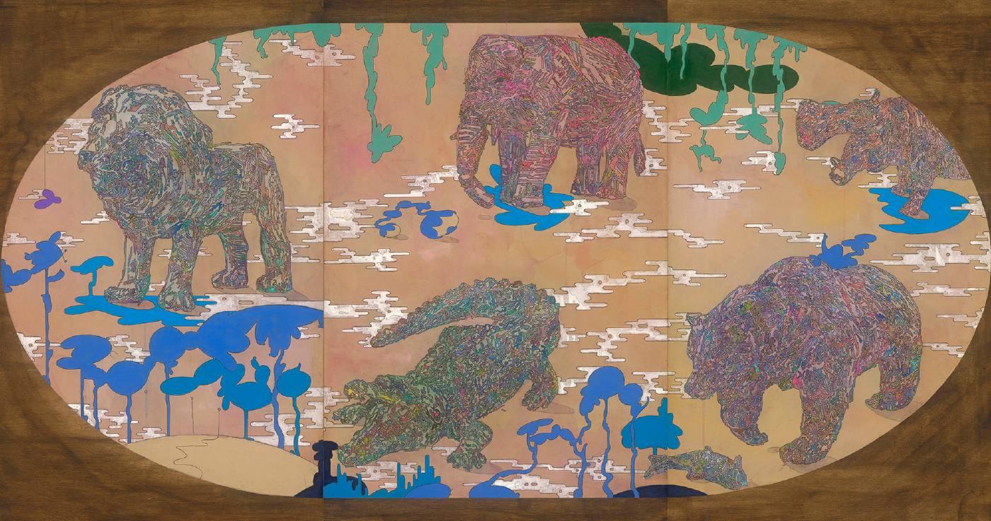 〈神獸蜇伏〉複合媒材、牛皮紙裱於木板 81x122cm 3pac 2021