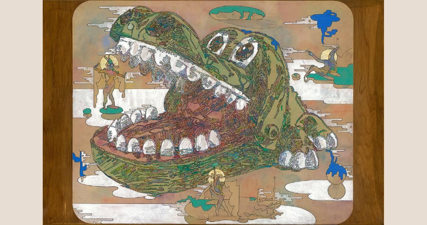 〈大嘴吃四海八方〉複合媒材、牛皮紙裱於木板 103x67cm 2020