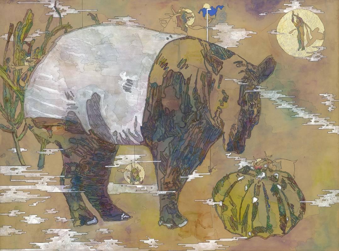 〈幻境夢遊〉複合媒材、牛皮紙表於木板 120x90cm 2020