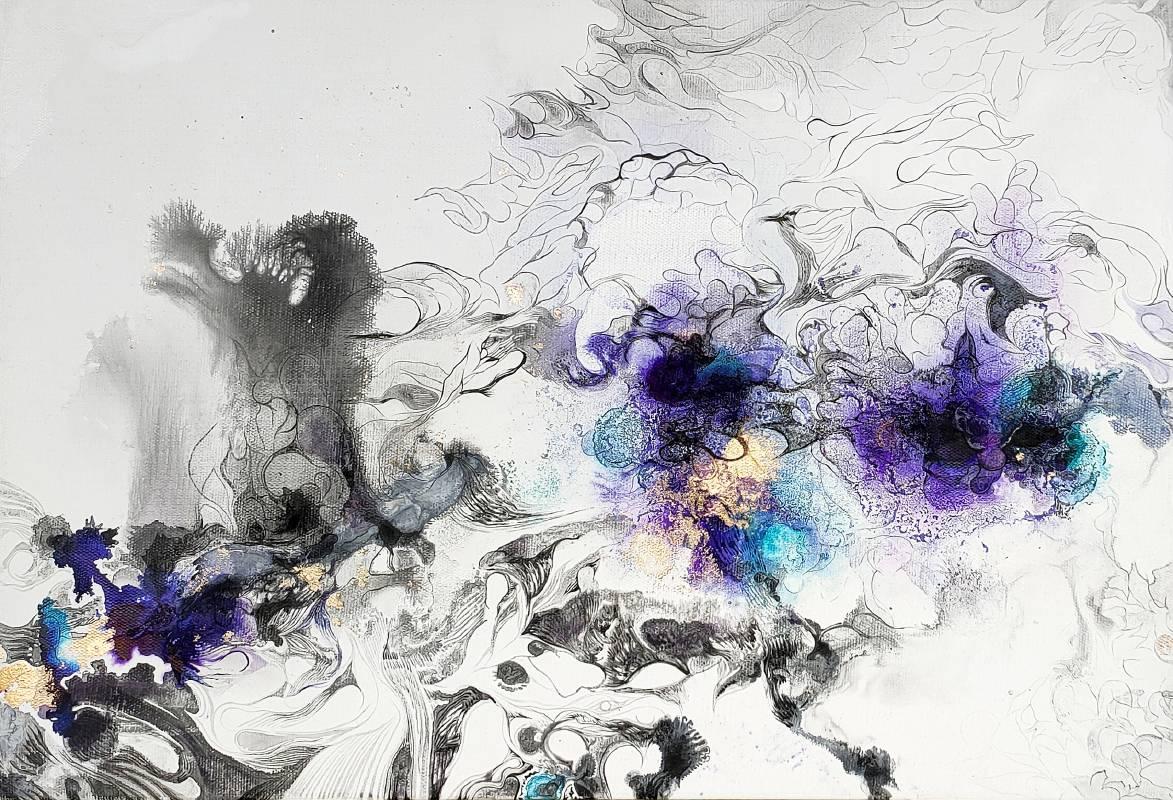 陳佩歆 Chen Pei Xin / 氣味如煙 Smoky Smell , 酒精墨水、壓克力、畫布  Alcohol ink  、 acrylic on canvas,  41x60 cm , 2021