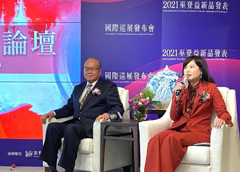 國際資深拍賣官游文玟出席2021巫登益兩岸及國際巡展發布會。(中評社)