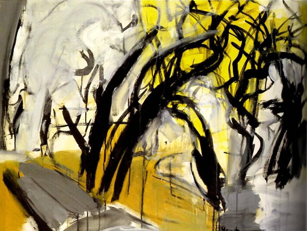 李錦繡 - 林間-黃 壓克力、畫布 91x116cm 1989。圖/双方藝廊提供