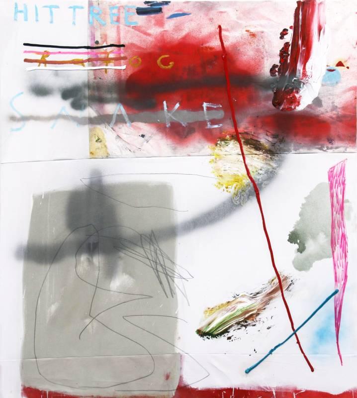 Mario Weinberg Hit and Run 2020年 140x125cm 油彩.壓克力顏料.噴漆.縫紉線.鉛筆.畫布