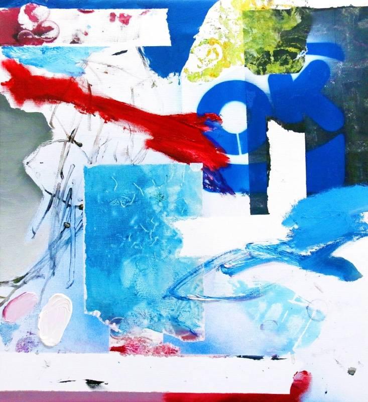Mario Weinberg_Rumours about jake_ 2020年 50x45cm 油彩.壓克力顏料.噴漆.縫紉線.畫布