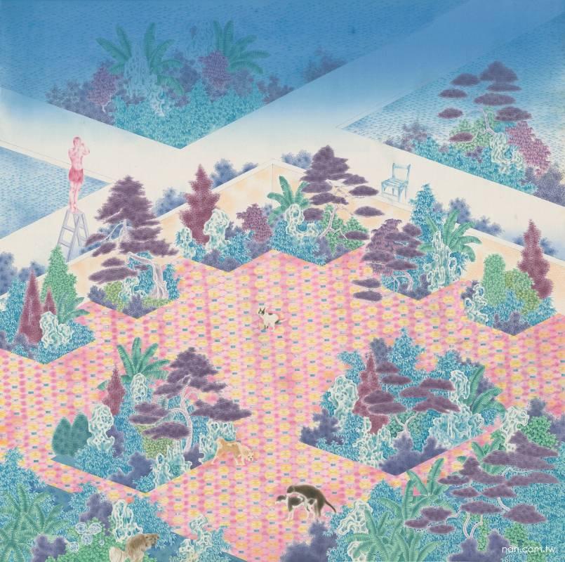 謝福源 庭園中的窺探者 2020 壓克力、絹本 98×98cm