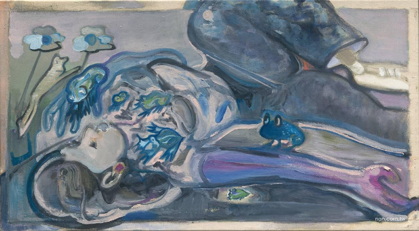 闕巧涵 與神秘朋友的夜晚  2020 油彩、畫布 55×100cm