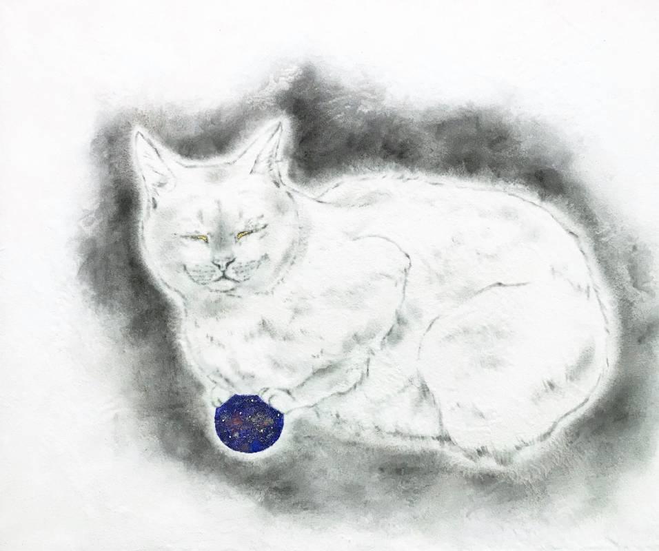 林倖安/午夜/61x73cm/雲肌麻紙、礦物、純金箔、珍珠/2019