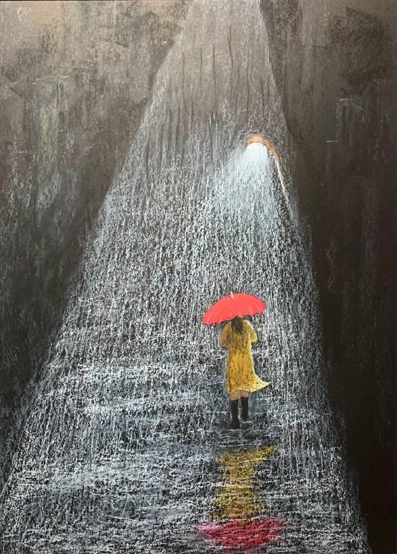 撐紅傘的女孩 盛正德 油性粉彩 10F
