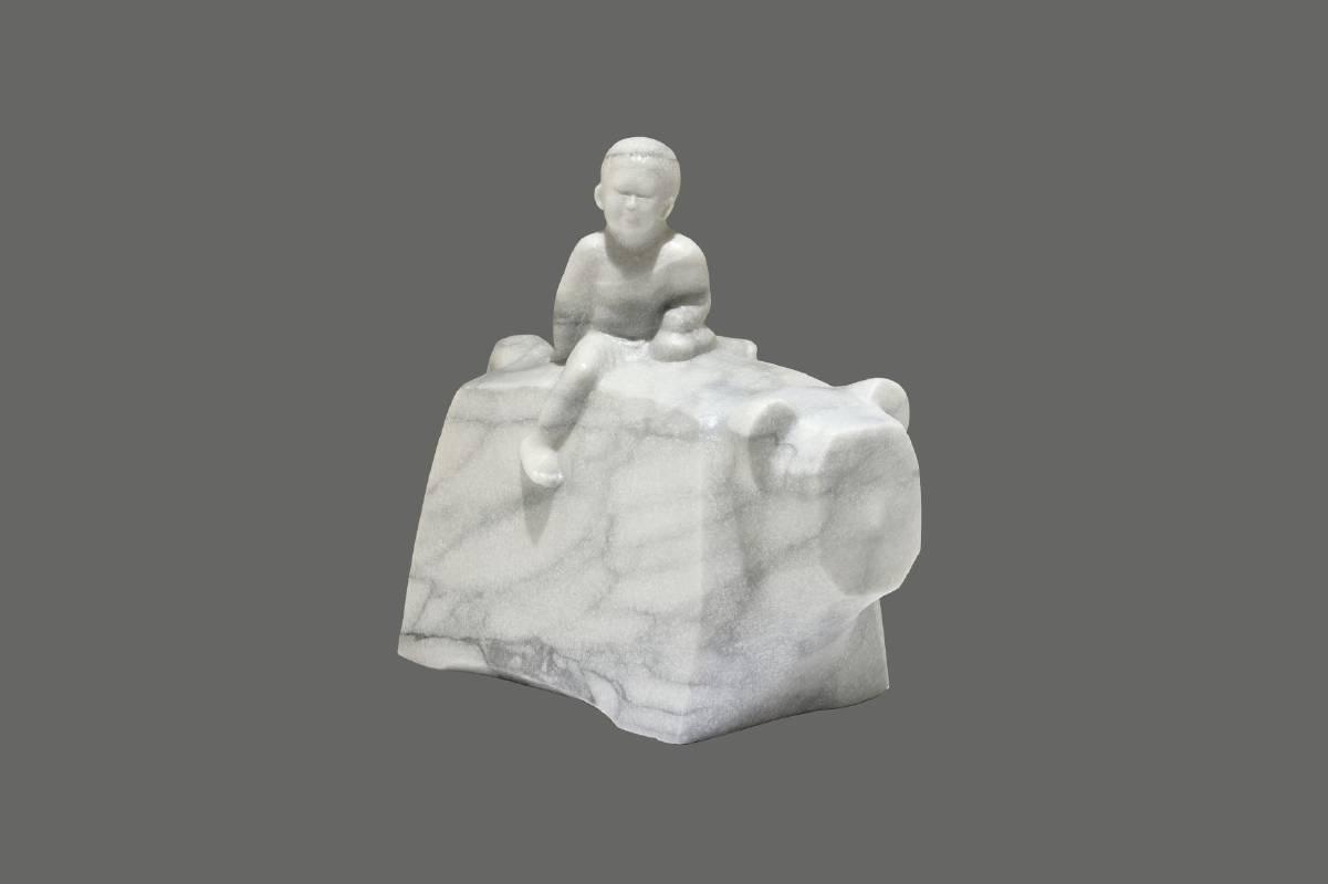 福獅〈134快樂向前行〉和平白玉石33×19×40.5-2020