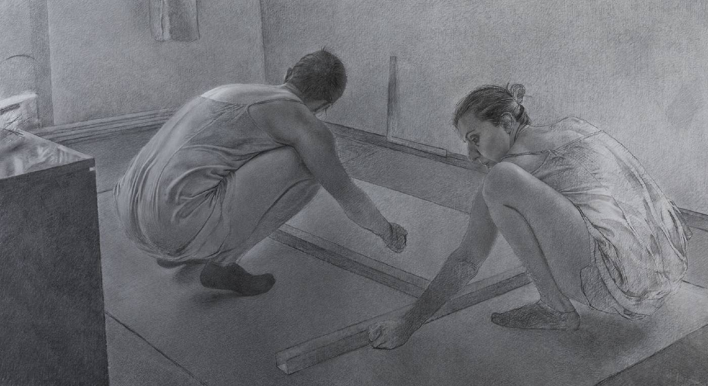 《在你的沈默與喧囂……結果是》  2019 炭筆、麻布 120 x 220 cm