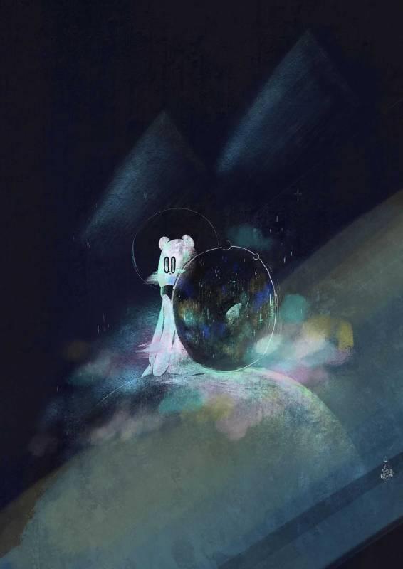 作品名稱:微光後的回顧 創作媒材:數位藝術 背著一個巨大的星空 看著眼前的一片黑 總覺得 現在的我 是不是 不要再浪費時間了 ─黃祈霖