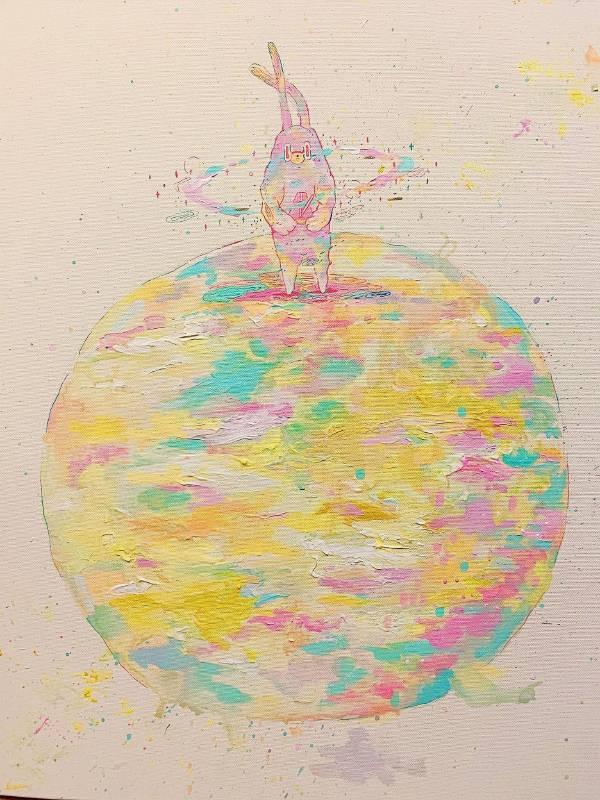 作品名稱:晚上的節拍器 創作媒材:壓克力彩 我送你一片宇宙 而你送我一個記憶 崩解自己的肉體 讓DILO釋放 用一場舞蹈 去接受這個世界 ─黃祈霖