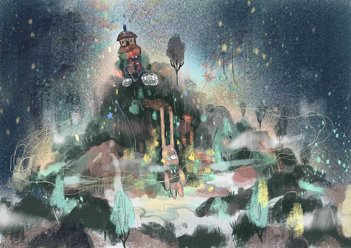 作品名稱:星空旅行 創作媒材:數位藝術 晚安暴躁的人們 好好的在森林裡奔跑 這裡沒有收訊、錢、人 只有空氣、星空、水 叫吧 哭吧 喊吧 等早上 再當一個平凡人 ─黃祈霖