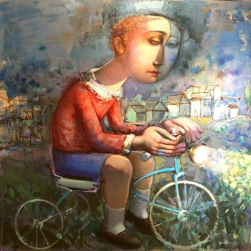 Alvaro Reja《朝穆威達而去》油畫 120x120cm