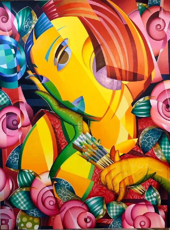 Carolina Cuadrillero《持扇的女人》油畫 97x130cm