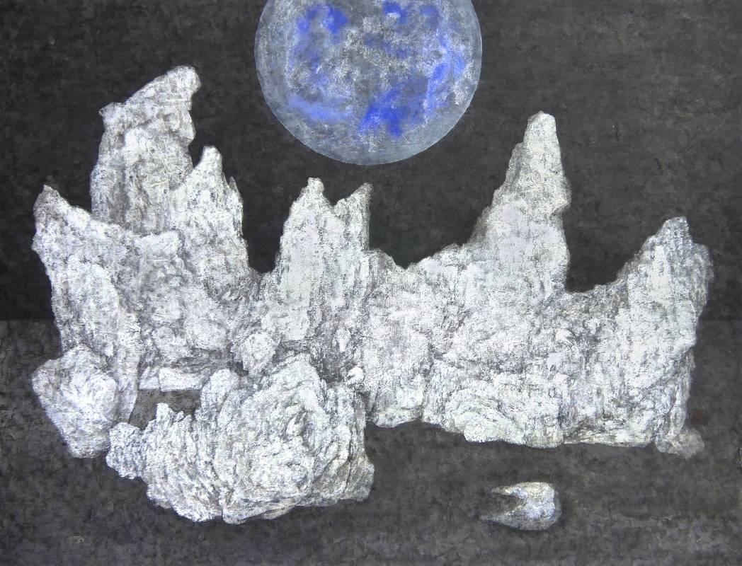 黃郁筑 Huang Yu Chu  /  夜黑 II Ups and Downs At NightII , 水墨複媒紙本 Mixed media on Paper , 56x74 cm