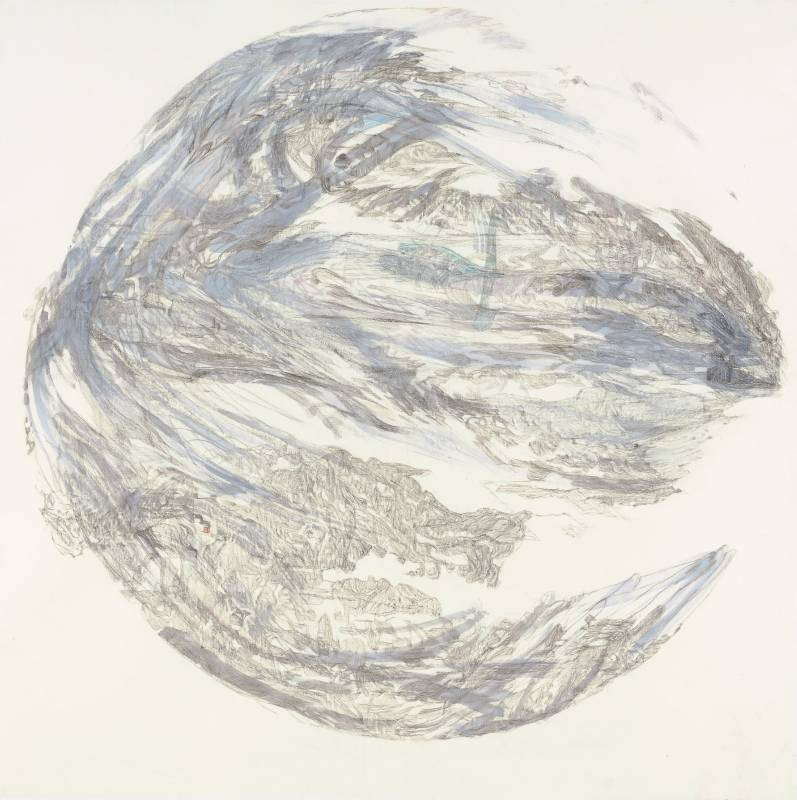 吳軒慧 Wu Husan Hui / 疾風-綠天鵝 Rafale-Green swan, 紙本設色水墨 Colored ink on paper , 125 x 125 cm , 2021