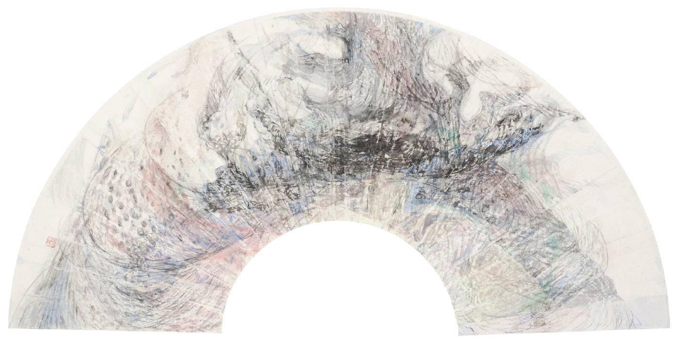 吳軒慧 Wu Husan Hui / 滂沱 Raining buckets , 紙本設色水墨 Colored ink on paper, 45 x 80cm , 2020