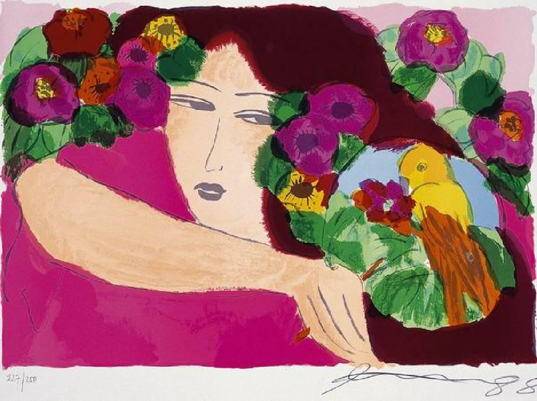 丁雄泉 粉紅女郎 版幅250 61X91cm 石版畫 1987