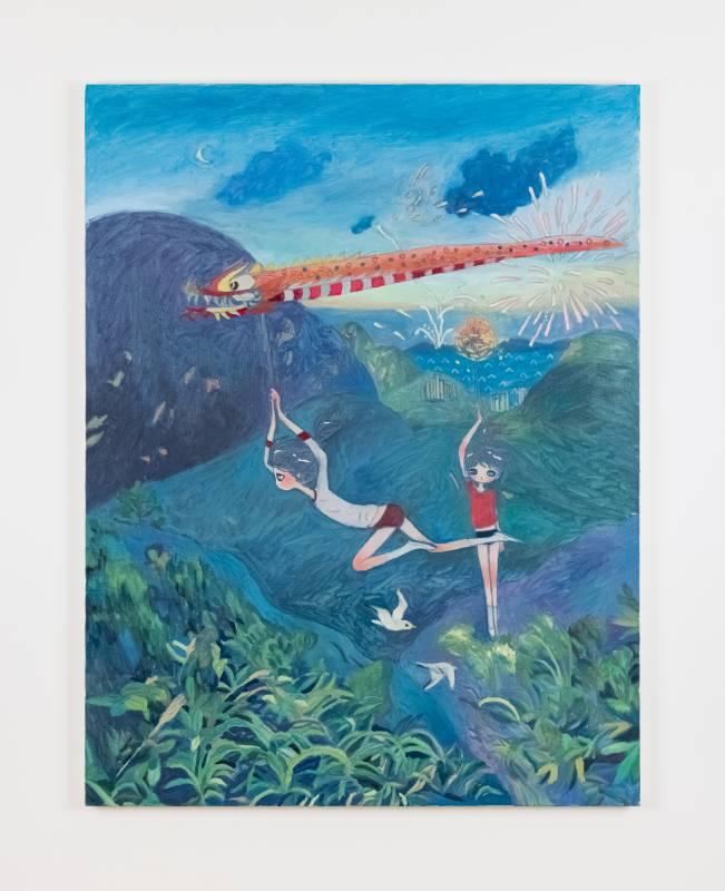 ⾼野綾 march, birthday of tin hau, in the mountain, 2021 布⾯油畫 145.5 x 112 cm. ©2021 Aya Takano/Kaikai Kiki Co.,Ltd. All Rights Reserved. 圖片由⾙浩登提供.