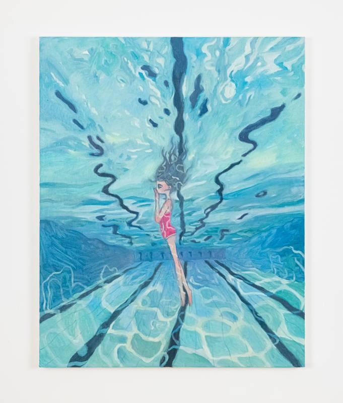 ⾼野綾 we have a pool next of our apartment, we swim everyday, 2021 布⾯油畫 100 x 80 cm ©2021 Aya Takano/Kaikai Kiki Co., Ltd. All Rights Reserved. 圖片由⾙浩登提供.