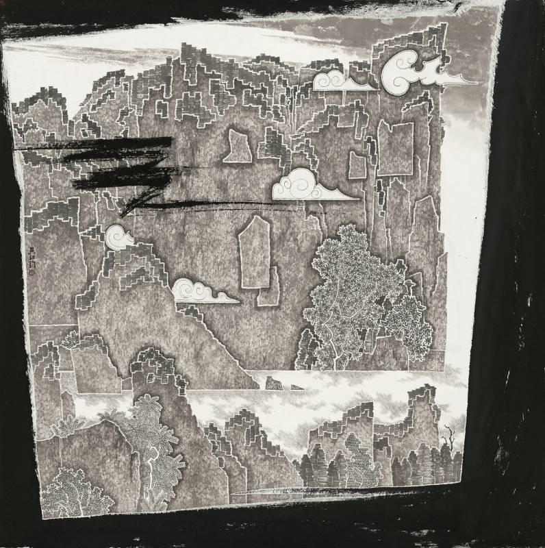 【瞬息】|98x98cm|宣紙、墨|2021|吳弘鈞