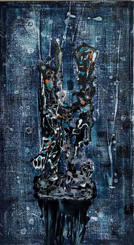【對望立石】|90x50x5cm|油彩、畫布|2021|邱建仁
