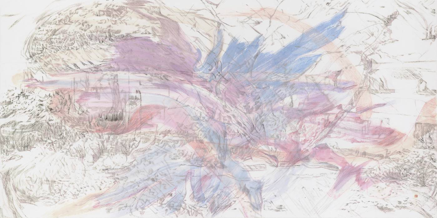 吳軒慧 Wu Husan Hui / 振翅翱翔 Winging swiftly through the sky, 紙本設色水墨 Colored ink on paper , 70 x 140 cm, 2021