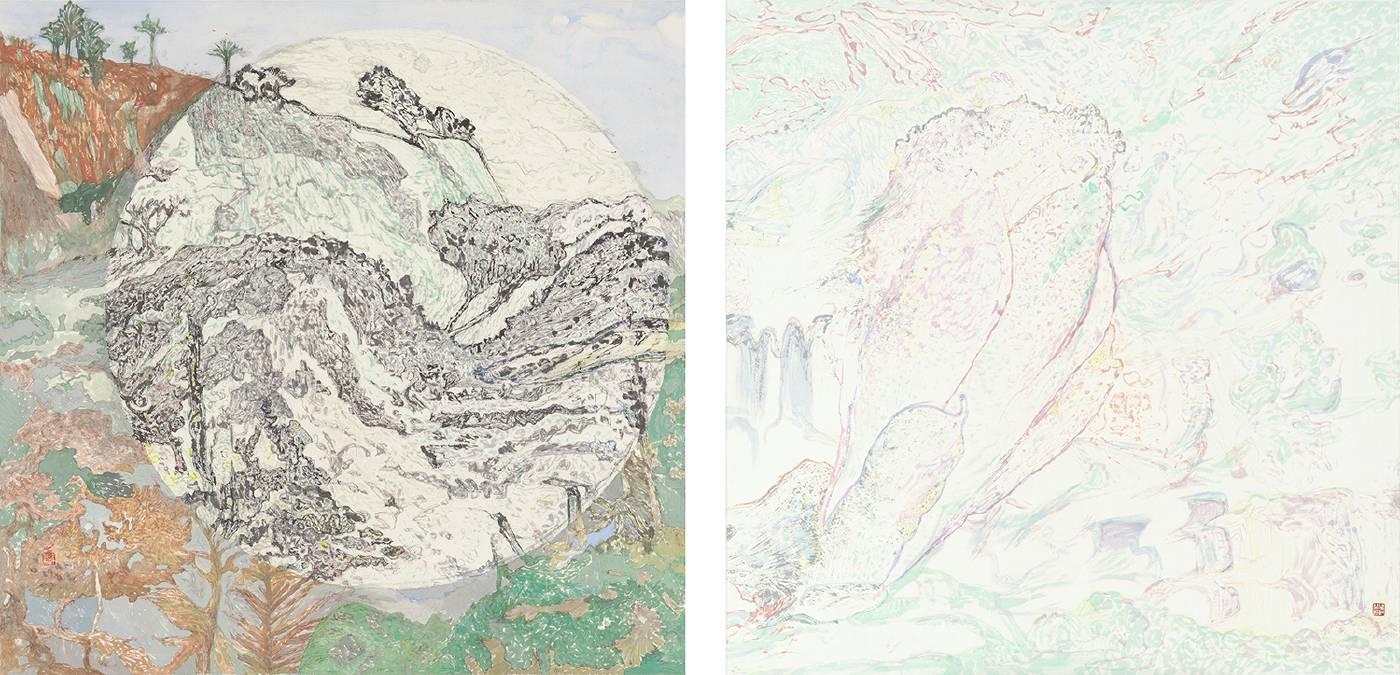吳軒慧Wu Husan Hui / 冬天的木蘭花 I, II (聯幅) Magnolia in winter I, II (diptych) , 紙本設色水墨 Colored ink on paper , 65 x 65 x 2 cm , 2018