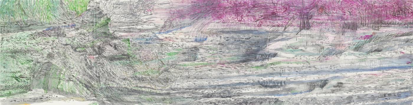 吳軒慧 Wu Husan Hui / 鳥瞰硫磺谷 bird's eye view of Liuhuang (Sulfur) Valley,紙本設色水墨 Colored ink on paper , 35 x 136cm , 2020