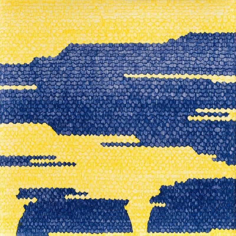謝榕蔚  紙上種草的園丁2020.04.20  37.5x37.5cm  中性筆紙本  2020