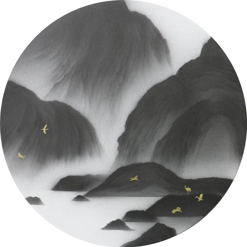 藝術家:呂浩維  標題: 返山日記 圓板 No.25  尺寸:直徑:21cm  年代:2021    材質:紙本水墨設色