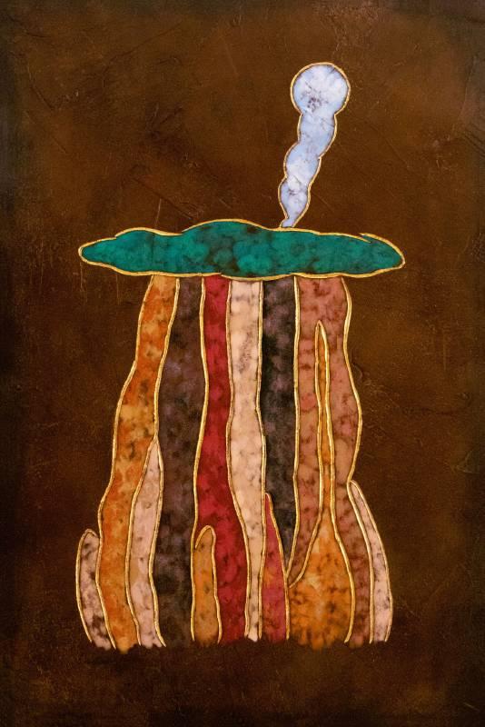 夏愛華_世界樹–平面_杉木拼板、漆、金箔、岩彩_H60xW40xD5 cm_2021