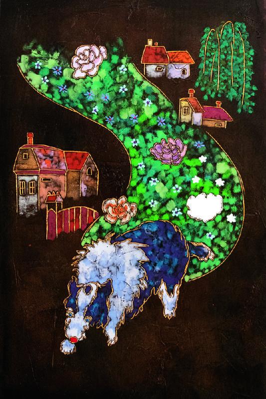 夏愛華_帶著花朵而來_杉木拼板、漆、金箔、岩彩_H60xW40xD5 cm_2021