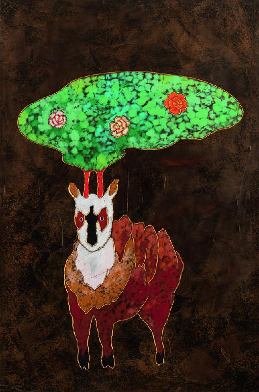 夏愛華_帶著花朵的山神_杉木拼板、漆、金箔、岩彩_H120xW80xD5 cm_2021