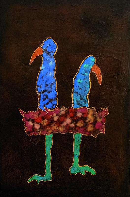 夏愛華_藍色的彼此_杉木拼板、漆、金箔、岩彩_H60xW40xD5 cm_2021