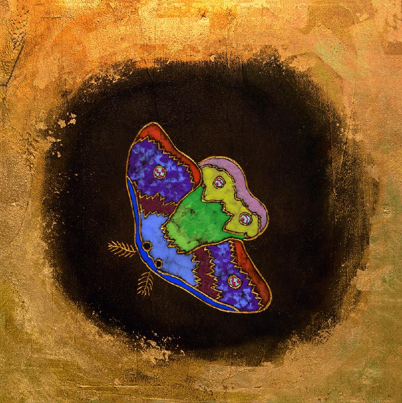 夏愛華_夜裡的光亮–1_杉木拼板、漆、金箔、岩彩_H30xW30xD5 cm_2021