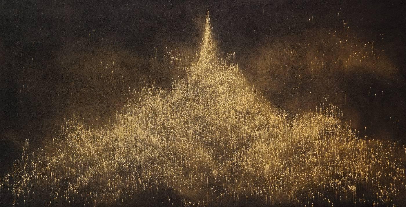 砌金G82 - 龍盤鳳舞 2021 礦物、顏料、畫布 68 x 133 cm