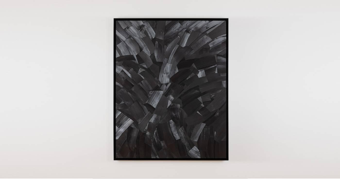 李培 《Issu du feu F12》, 2003 畫布⽊炭 65 x 53 cm 攝影:Ringo Cheung 圖片由藝術家及⾙浩登提供
