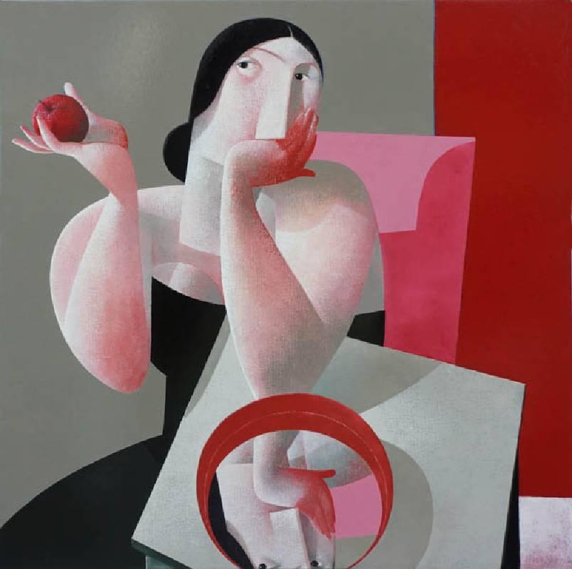 Peter H. Harskamp《水盆旁的女人與蘋果》Oil on canvas118x118cm