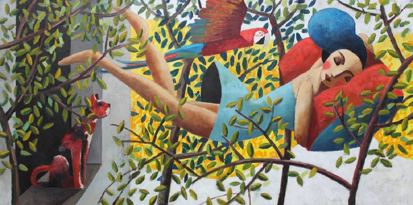 Didier Lourenço《夢中的我》Oil on canvas150x75cm